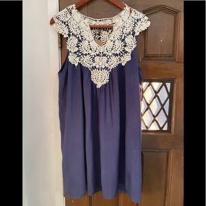 Crocheted lace navy blue sleeveless shift dress